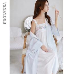 Abito da notte di due pezzi online-Due pezzi 2 Sleepwear Robe Gown Set Anteriore aperto Rosa Kimono Strap Ricamo Night Dress Plus Size Camicia da notte Peignoir Set T204