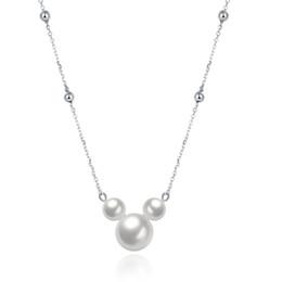 Nuovo arrivo 925 sterling silver Mickey perla ciondolo collane catena di collegamento romantico monili fini che fanno per le donne regali consegna gratuita SVN055 da