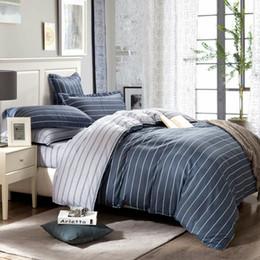 Wholesale egyptian cotton bedding sets purple - Simple Egyptian Coon Bedding Set King Size Striped Bedspread Grey Color Plaid Coon Bed Sheets For Men