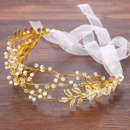Wholesale Gold Leaf Hair Band Accessories - European Crystal Pearls Bridal Hairbands Wedding Veil Headbands Tiaras Women Gold Leaf Hair Band Headwear Girls Dress Crown Hair Accessories