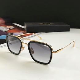 Semelle occhiali en Ligne-Lunettes de soleil Square Pilot en métal doré / dégradé gris Sonnenbrille occhiali da sole Lunettes de soleil de designer Lunettes vintage unisexées Nouveau avec boite