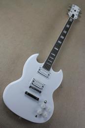 Blanc de neige chinois en Ligne-Magasin d'instruments chinois meilleur guitare personnalisé SG blanc neige couleur carré marqueterie Fret Board, guitares de stock, livraison gratuite! 10 25