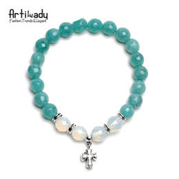 Wholesale Food Tigers - Artilady 8 colors natural stone bead cross charm bracelets fashion opal tiger eye bracelet for women jewelry