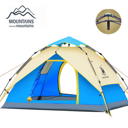 Wholesale Blue Hydraulics - Wholesale-Hydraulic Automatic Windproof Waterproof Double Layer Tent 3-4 person Tents Ultralight Outdoor Hiking Camping Tent Picnic Tents