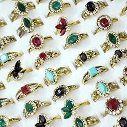 Neues china antiken online-Neue Vintage Strass Alte Gold Frauen Ring lot weibliche anel Schmuck Viele Top qualität LR4055