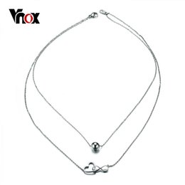 Wholesale Interlocking Hearts - whole saleVnox Double Layer Interlocked Heart Infinity Choker Necklace for Women Silver Color Bead Stainless Steel Jewelry Party Bijoux