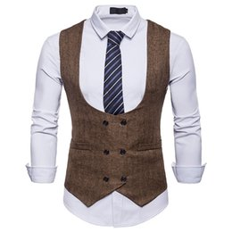 waistcoats v neck for suit Coupons - Mens Top Designed Double Breasted U-neck Vests For Male Slim Fit Mans Suit Sleeveless Vest Casual Waistcoat for Suit or Tuxedo