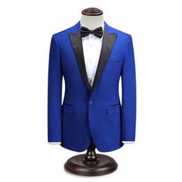 Elegante chaqueta de esmoquin negro online-Los hombres negros y azules se adaptan a la chaqueta de boda de los hombres personalizados tuxedos chaqueta un botón elegante fiesta de graduación Hombres