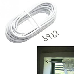 Wholesale cord hooks - 2 3 4 5m Curtain Wire Window Cord Cable String Sets with 2 Fish Eyes &2 Hooks Household Supiles Home Decor Bathroom Accessories