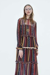 157f3d436f2 new spring autumn fashion crew neck ankle-length long sleeve vertical stripe  printed loose vintage dress