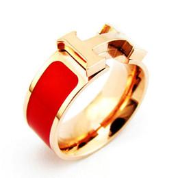 populares marcas de joyería de plata esterlina Rebajas Anillos de acero inoxidable 316L de lujo con sello H Anillo de aceite de gota naranja rojo blanco y negro para mujeres con bolsa de terciopelo original