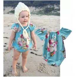 Wholesale Comfortable Baby Girl Clothes - Affordable Short Sleeve Newborn Baby Girls Bodysuit Blue Floral Print Cotton Romper Jumpsuit Comfortable Clothes 0-18 Months B11