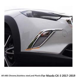 2019 faróis de nevoeiro mazda cx Para Mazda CX-3 CX3 2017 2018 2019 Car styling corpo frente luz de nevoeiro da lâmpada quadro vara sobrancelha ABS cromo tampa guarnição da etiqueta 4 pcs desconto faróis de nevoeiro mazda cx