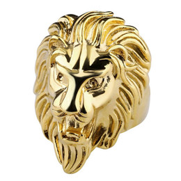Wholesale Mens Animal Rings - Fashion Lion Band Ring Gold Steel Color Men's Rings Stainless Steel Jewelry For Mens Jewelry Wedding Love Ring Luxury Brand Jewelry Anillos