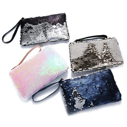 Wholesale Clutch Paillette - Women Mermaid Sequins Cosmetic Bag Large Capacity Clutch Handbag Evening Clutch Envelope Bag BlingBling Makeup Bag Pouch