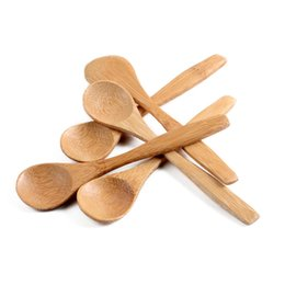 Wholesale Catering Utensils - 13cm Round Bamboo Wooden Spoon Soup Tea Coffee Honey spoon Spoon Stirrer Mixing Cooking Tools Catering Kitchen Utensil