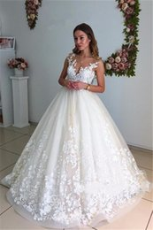 Wholesale open back gold wedding dresses - High Quality Lace Wedding Dresses Arabic A Line V-Neck Open Back Court Train Appliques Ball Gown Spaghetti Bridal Gowns Cheap Custom Made