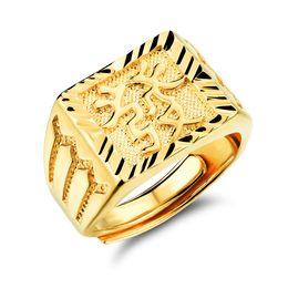joyas de oro 18k Rebajas Los hombres 18 K chapado en oro anillos de la joyería para el hombre exquisito anillo de los hombres se enriquecen en la personalidad china accesorios joyería de moda KJ031