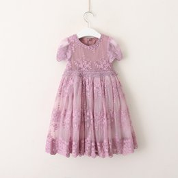 Wholesale Girls Dresses Suspender Lace - Girls lace flowers embroidere dress 2018 new children lace hollow short sleeve dress kids ruffle gauze princess dress dusty pink gray A00205