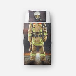 Пожарные тема постельные принадлежности 3D дизайн Близнец один размер постельные принадлежности наборы для детей Ребенок мультфильм пододеяльник набор от