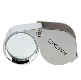 Lupas de metal online-Plegable 30X Lupa de metal Lupa Joyeria Cristal Lente Joyería Lupa