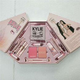 Wholesale Christmas Mascara - Kylie Cosmetics 21 in 1 Pink Collection Makeup Big Box INTERNATIONAL 6 color lip gloss, blush Palette, kylighter, eyeliner , mascara