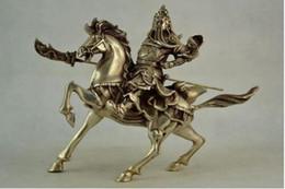 2019 estátua de prata chinesa Chinês Colete Antigo Miao handwork escultura de prata Guan Yu Estátua de Equitação desconto estátua de prata chinesa