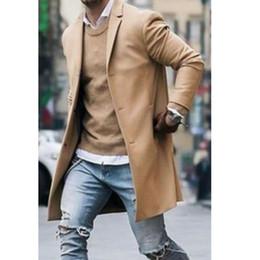 manteau de tranchée hiver laine Promotion Nouvelle arrivée de mode hommes laine manteau d'hiver tranchée manteau Outwear pardessus à manches longues élégant veste décontractée