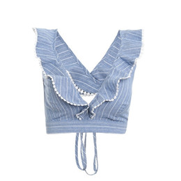 top camisola volante Rebajas Sweety Elegante Ruffle Stripe Print Tank Top Sexy V Backless Summer Crop Top Cami Mujeres Lace Up Casual Camisole Tank Blusa