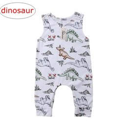 Wholesale zebra print bows - ins summer infant dinosaur full print rompers Jumpsuits kids big floral print bow rompers baby backless flower jumpsuits 0-2years