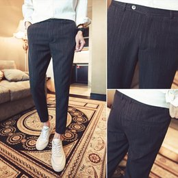 Wholesale Man Western Style Suits - 2018 Spring New Men's Fashion Casual Slim Bound Feet Ankle-length Trousers Tide Solid Color Western-style Suit Pants Male 28-34