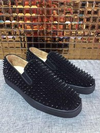 Wholesale Cheap Men Name Brand Shoes - Name Brand Low Cut Red Bottom Sneaker Casual Shoe Man Woman Fashion Rivets Slip On Men Dress Party Loafers Cheap Sneakers With Box