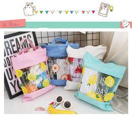 Wholesale art canvas letters - 4 colors PU Canvas Beach Handbag fruit print Casual Tote Shoulder Portable Female Students Bag Letter design Shopping Bags MMA348 120pcs