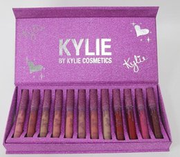 Wholesale Purple Lip Gloss - Kylie Newest Matte Liquid Lipstick 12 Colors Rose Red Box Lip Gloss By Kylie Jenner 12pcs Purple Heart Lipgloss Collection