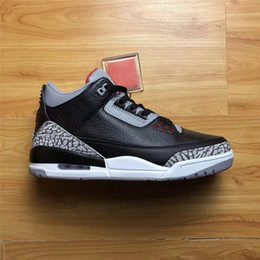 Wholesale New Basketball Shoe Releases - 2018 New Release Air Retro 3s OG Black Cement Basketball Shoes For Men Best Original Quality Authentic Sneakers With Shoes Box Top Sale