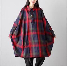 Wholesale plaid blouse batwing - Korean Style Spring Autumn Oversize Women Clothing Turn Down Collar Plaid Batwing Sleeve Shirts Irregular Female Blouses E768