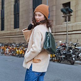 Wholesale Original Fur Coat - winter Autumn and winter style new trend of the original design women's solid color oblique zipper lambskin short jacket coat