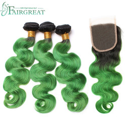 Wholesale Pre Green - Fairgreat Pre-Colored Human Hair Bundles With Closure Indian Peruvian Body wave Human Hair 3 Bundles With Closure 1B Green Ombre Color Hair