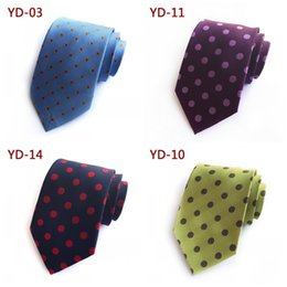 Wholesale British Neckties - Solid color with dot decor men ties fashion British style neckties for business wedding party groom cravats 47 87mz Z