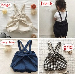 Wholesale overalls girls kids - INS Baby Cotton Linen Bow Overalls Kids Girls Loose Casual Suspender Pants Baby Girl Clothes Kids Summer Clothing 0-4Years free ship