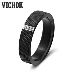 Wholesale White Zircon Ring For Men - Sexy Black Band Rings Fashion Jewellry Stainless Steel Zircon Ring Wholesale For Women Men Wedding Rings anel Punk Style VICHOK