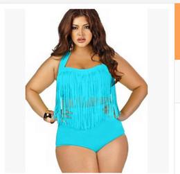 Wholesale Woman Fat Suits - 2018 Bandage Waist Plus size fat woman fringed bikini fat ladies swimsuit plus ladies beachwear ladies sexy bikini suit large size
