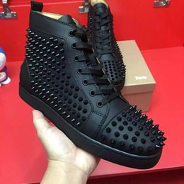 Wholesale Flat Tops Chocolate - Free shipping 2018 new arrival mens womens black genuine leather with spike studded high top sneakers,designer flat causal shoes 36-46
