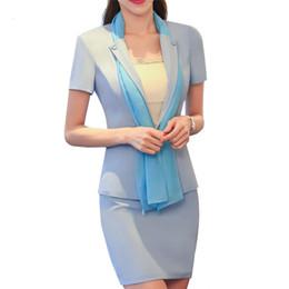 Bufandas de uniforme online-2017 verano delgado oficina uniformes diseños mujer traje de negocios bufanda cuello blazer + faldas