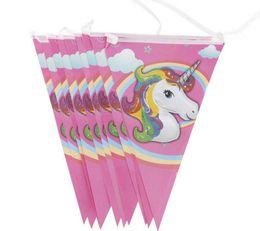 Bandiere appesi a compleanno online-10 pz / lotto Unicorn Bandiera di Carta Del Fumetto banner Festa di Compleanno Appeso Bandiere di Carta per bambini decorazione del partito appeso forniture puntelli favore FFA1153