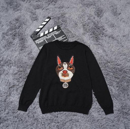 Wholesale knitted dog sweaters - Sweater Men 2018 New Arrival Autumn Casual Pullover Men dog embroidery Round Neck Patchwork Quality Knitted Brand Male Sweater