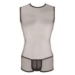 Monos de hombre online-Chaleco de seda de nylon para hombres Body Shape Body Underwear Gay Hombre sexy gasa transparente Bodysuits con bolsa de pene Ver a través de Hombre Boxeadores