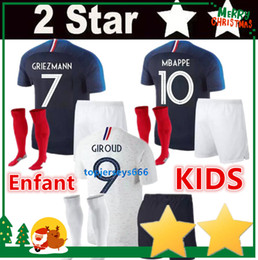 Wholesale boy cups - 2 Stars kids kit GRIEZMANN MBAPPE POGBA soccer jerseys 2018 world cup child shirts DEMBELE MARTIAL KANTE jerseys football GIROUD Maillot de