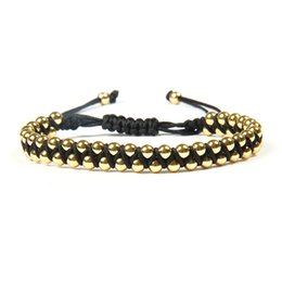 Ailatu Wholesale 10pcs lot Top Quality Gold Jewelry 4mm Cz Beads Double Roll Macrame Bracelet For Gift Deals