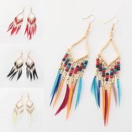 Wholesale feather diamond earrings - Women Vintage Boho Multicolor Long Feather Tassel Dangle Earrings Jewelry Diamond Feather Earrings 5 Colors Party Accessories Free DHL H59R